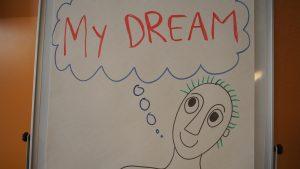 Kuvassa on piirros henkilöstä, jonka päällä ajatuskupla, jossa lukee My Dream.