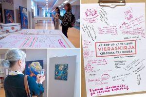 Kuvissa on ihmisiä kuvaamassa Elli Maanpääin teoksia kännykällä ja samalla avaamassa teoksista avautuva AR-näkymiä.