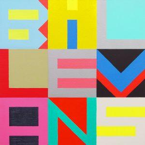 Kuvassa on taideteos, jossa on kirjaimia: BILLEVANS.