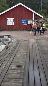 Kuvassa näkyy Seilin satamalaituri ja kulttuurialan YAMK-opiskelijoita matkalla Seiliin.