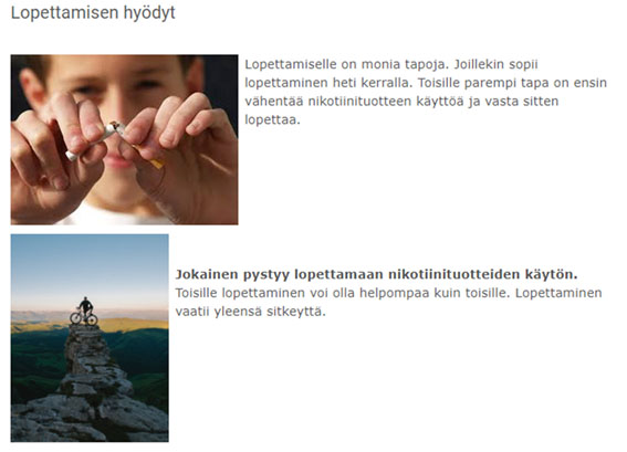 Kuvassa 1 nuori katkaisee tupakan ja kuvassa kaksi on pyöräilijä.