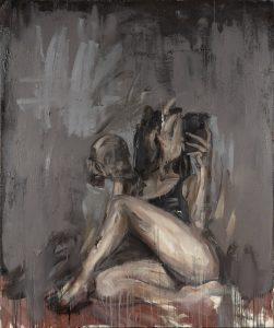 Kuvassa on maalaus, jossa on tunnistettavissa istuvan hahmon jalat ja ylävartalo, mutta kasvoja ei erotu taustasta.