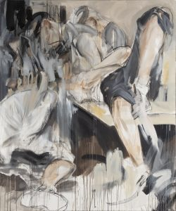 Kuvassa on maalaus, jossa erottuu kaksi hahmoa, toinen lattialla ja toinen sängyllä tai sohvalla.