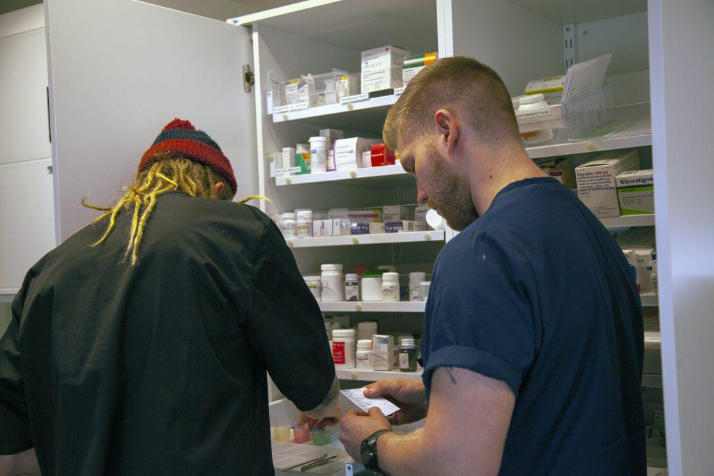 Opiskelijat tutkivat lääkekaappia.