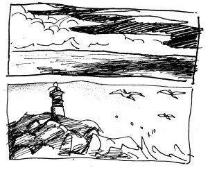 Kuvassa on majakka, meri, lintuja ja pilviä.