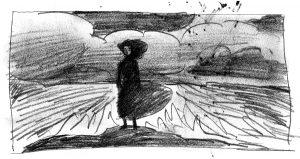 Piirroksessa on nainen keskellä pilvistä maisemaa.