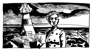 Kuvassa on nainen ja hänen takanaan majakka.