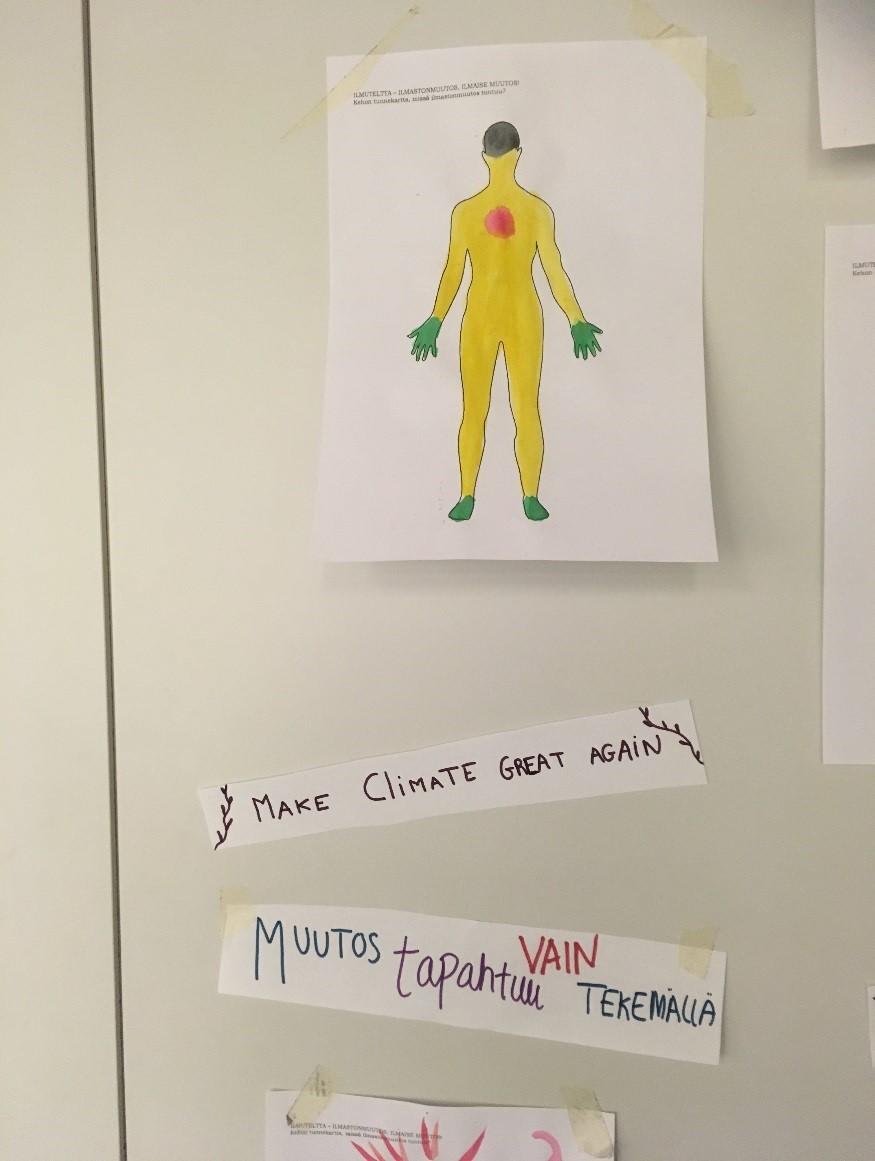 Kuvassa on piirros, jossa näkyy ihmishahmo, sekä kirjoitettuja tekstejä.