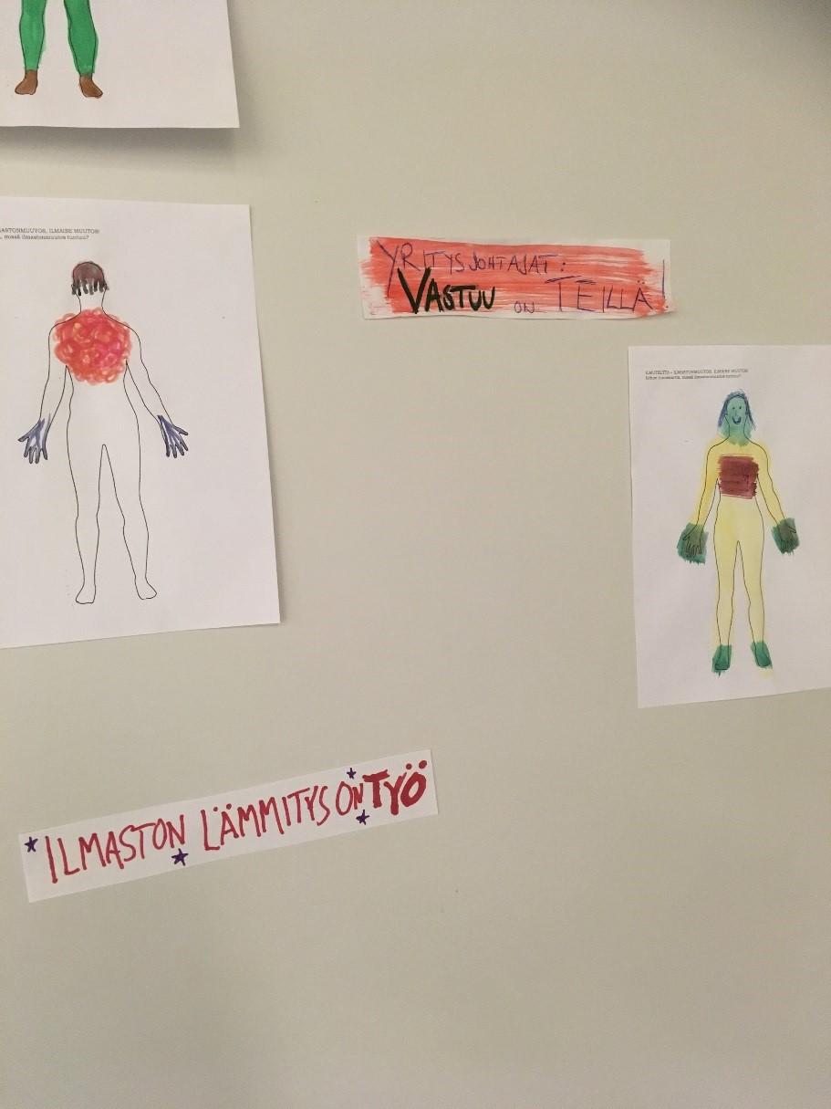 Kuvassa on piirroksia, joissa on ihmishahmoja, sekä tekstejä.