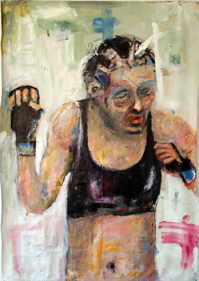 Kuvassa on maalaus, jossa on nyrkkeilijän tai vapaapainijan oloinen hahmo, jonka kasvoissa on punaista.