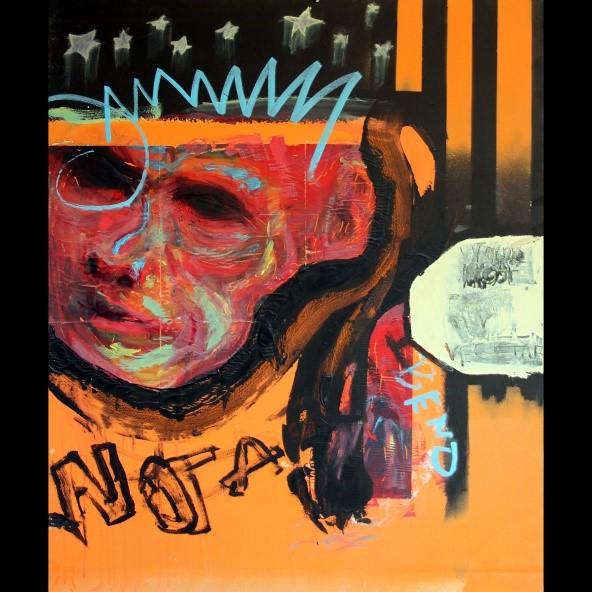 Kuvassa on maalaus, jossa on punasävyiset pää, tähtiä, raitoja ja muutama kirjain.