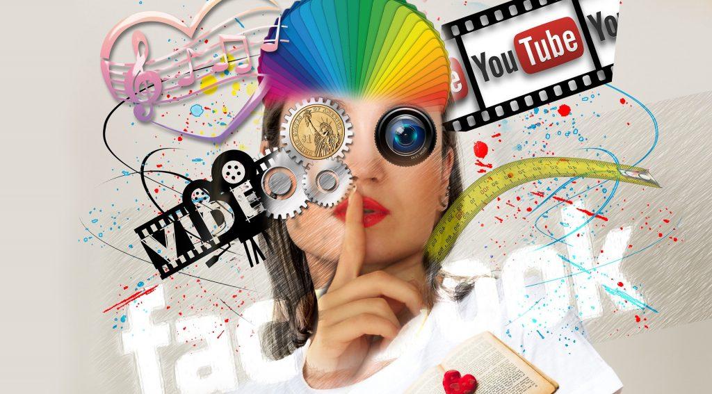 Kuvassa on ihmishahmo, jonka kasvot koostuvat mediasisältöjä symboloivista elementeistä.
