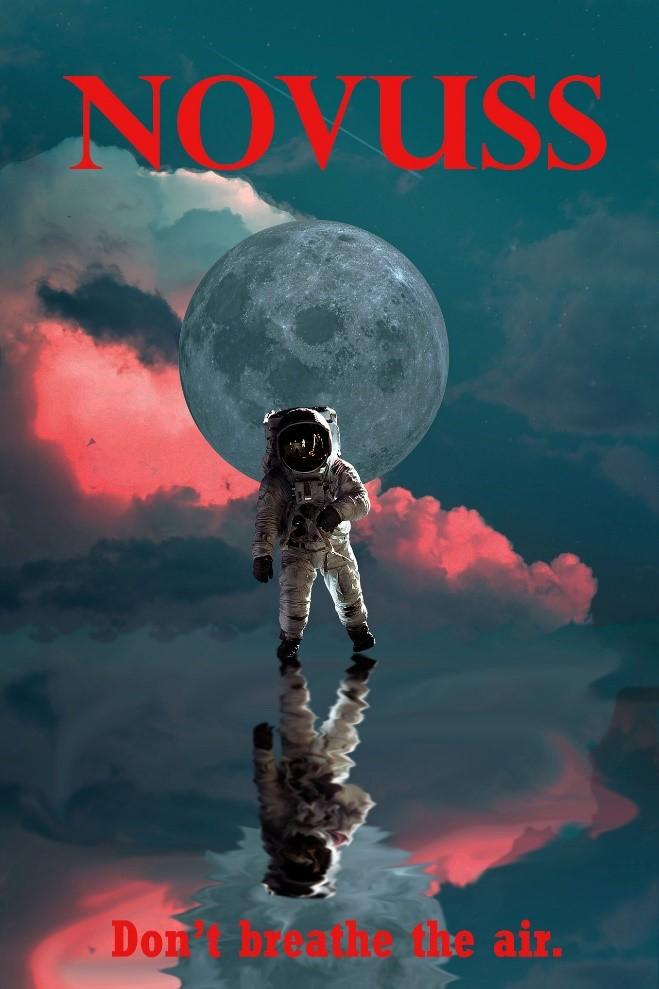 """Kuvassa on astronautti takanaan Maa ja taustanaan pinkki ja sininen pilvimassa. Kuvan alaosassa lukee teksti: """"Don't Breathe the air""""."""