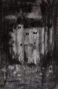 Kuvassa on Essu Koskisen hiilellä paperille tehty teos, jossa erottuu linnamainen rakennus.