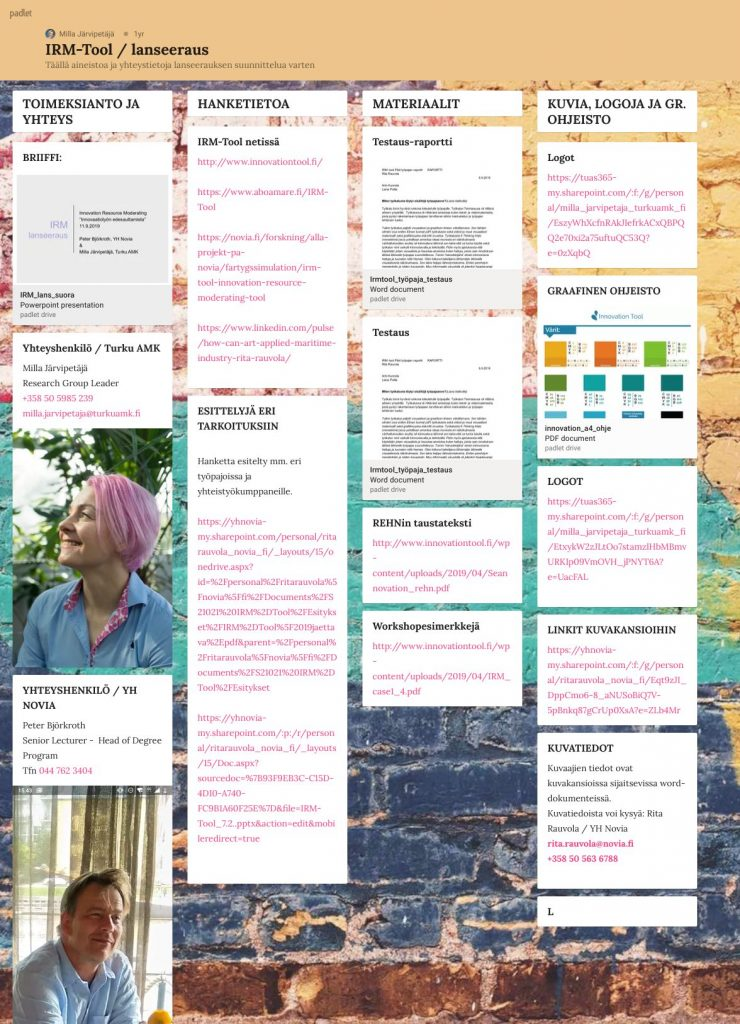 Information board in Padlet to launching Innovationtool.fi.