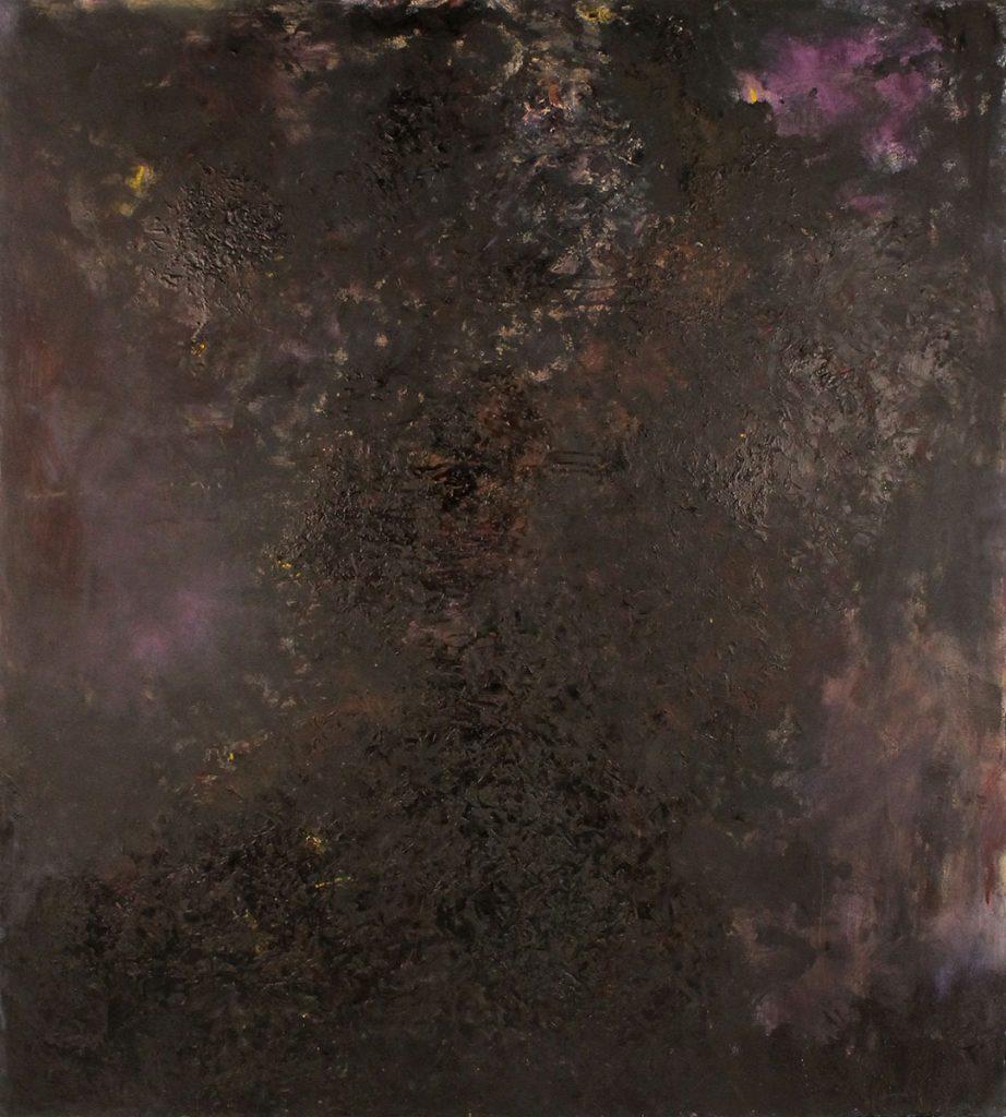 Kuvassa on abstrakti maalaus, joka muistuttaa avaruutta: siinä on tummia sävyjä, joiden joukossa on keltaisi ja liiloja värialueita.