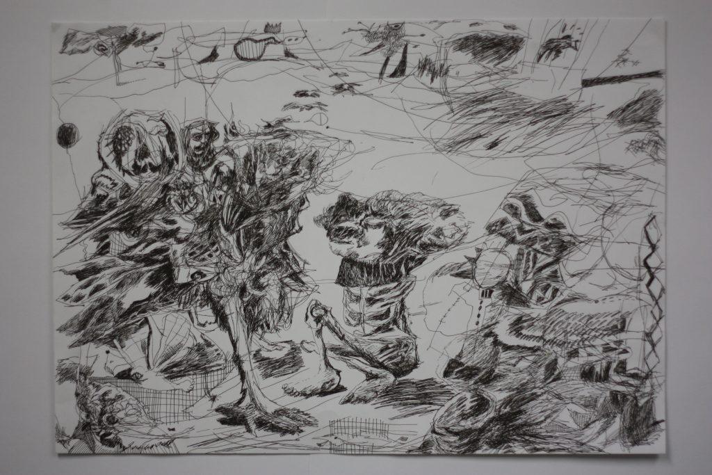 Kuvassa on piirros, jossa on monelaisia mielikuvituksellisia hahmoja ja viivatutkielmia.